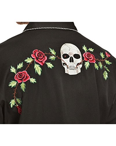 Scully Men's Skull And Roses Embroidered Retro Western Shirt Big - P-771 Blk_X 4