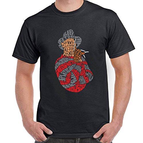 T-Shirt Scura Maglia Maniche Corte Cotone Freddy Krueger Con Stampa Nightmare, Colore: Nero, Taglia: M