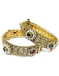 Shingar Jewellery Ksvk Jewels Antique Gold Plated Bangles Set For Women (bgp86-m-2.6)