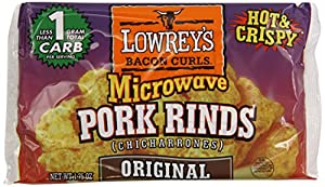 Lowrey's Bacon Curls, microwave Pork Rinds  (chicharrones), original,  1.75-Ounce Packages, 18 Count