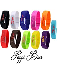 Pappi Boss Unisex Multicolor Set Of 11 Digital Rubber Jelly Slim Silicone Sports Led Smart Band Watch For Boys...