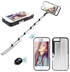 WireFox 2 in 1 iPhone 6/6S Case with Selfie stick- Unique Adjustable Aluminum Selfie Stick Case & Bluetooth Remote Shutter-