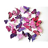 Cutelyn Decor Sticker 3D Butterfly 12PCS Removable Mural Wall Stickers Wall Decal For Home Decor (Purple Red)