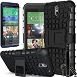 HTC Desire 610 Case, COVRWARE® 3 in 1 Bundle - Heavy Duty Terrapin Series Armor Protective Case with Built-in Kickstand [HD Film & Aluminum Sensitive Cap Stylus Pen] - Black