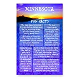 MINNESOTA FUN FACTS postcard set of 20 identical postcards. US state trivia post card pack. Made in USA.