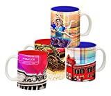 Tangerine Indie Tadka Kolkata and Chennai Porcelain Mug Set, 250ml, Set of 4, Multicolour