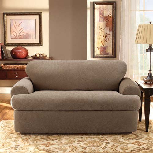Sofa Covers Amazon: Sure Fit Stretch Pique 3-Piece T Sofa Slipcover Taupe