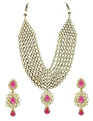 Bridal Jewellery Set Purple Colored Seven Line Drop Shaped Reverse AD Necklace Set