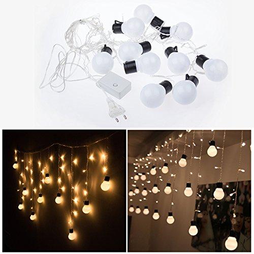 Sunsbell 48 Leds 10 Bulbs Xmas Led Curtain Light String Christmas Wedding Party Holiday Decoration Flash String Ornament Fairy Light 1.5M X 0.65M(Warm White)