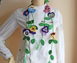 Pansy Crochet Scarf-lariat Scarf-flower Necklace Scarf -Crochet Spring Scarf-purple,blue,pink,yellow Color