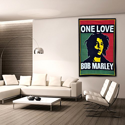 Bob Marley One Love Tapestry Wall Hanging Twin Throw Poster Flag Cotton Textile