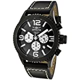Invicta Men's 1430 II Collection Black Stainless Steel and Leather Watch