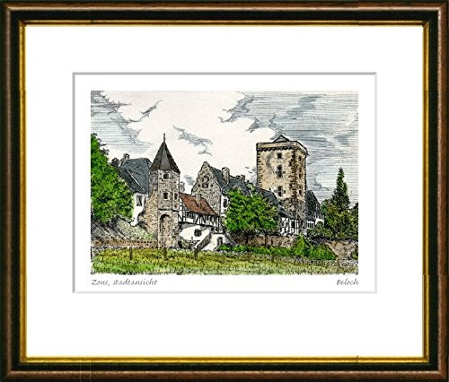Hand-colored hand-crafted etching Zons, Stadtansicht (Germany) by Beloch in a brown-gold frame behind a mount, graphics, art design, art print