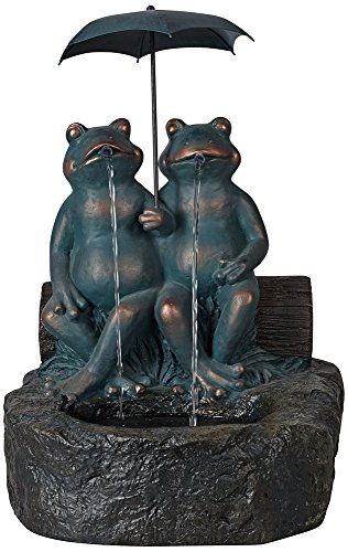 Happy Frogs Faux Stone and Bronze Garden Fountain