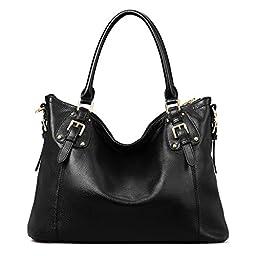 Kattee Women\'s Vintage Genuine Soft Leather Tote Shoulder Bag (Black, Large)
