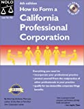 How to Form a California Professional Corporation with CD-ROM (0873374967) by Mancuso, Anthony