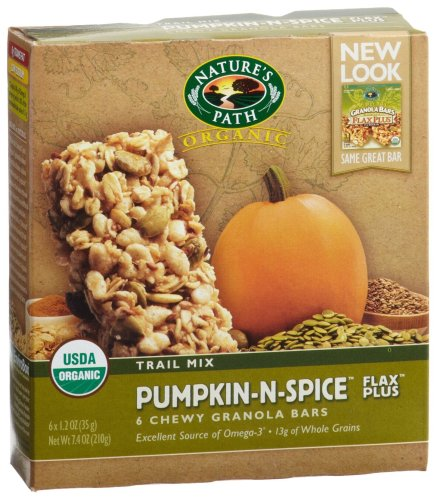 Nature's Path Organic Granola Bars, Pumpkin-n-Spice, Flax Plus 6-Count Boxes (Pack of 6)