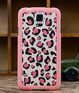 Big Mango High Quality 3-in-1 Classic Leopard Print Combo Protective Shell Hard Back Case Cover / Pink Frame Bumper Case for Samsung Galaxy S5 SIV I9600