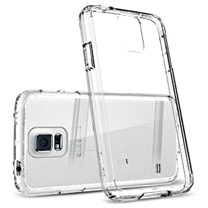 Galaxy S5 Case, Spigen® [AIR CUSHION] [+Screen Shield] Samsung Galaxy S5 Case Bumper ULTRA HYBRID Series [Crystal Clear] Clear Back Panel Protective Bumper Case with 4-Point Rear Guard + Air Cushion Technology Corners + Full HD Japanese Screen Protector for Galaxy S5 / Galaxy SV / Galaxy S V (2014) - ECO-Friendly Packaging - Crystal Clear (SGP10741)