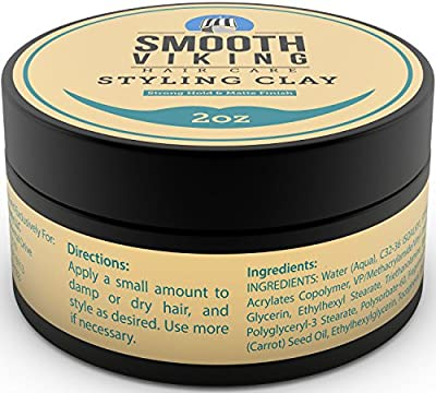 Cheapest Hair Styling Clay for Men - Best Pliable Molding Cream with Strong Hold & Matte Finish - Product for Textured, Thickened & Modern Hairstyles - Shine Free - 2 OZ - Smooth Viking by Skin Melody LLC - Free Shipping Available