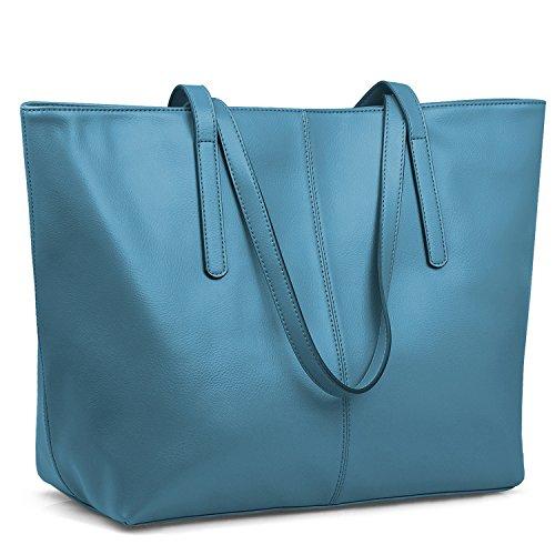 Jack&Chris Women's Genuine Leather Tote Bag Handbag Shoulder Bag,WBDZ038 (Light Blue)