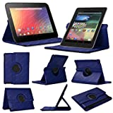 Stuff4 MR-NX7-L360-NB-STY-SP Leather Smart Case with 360 Degree Rotating Swivel Action and Free Screen Protector/Stylus Touch Pen for 7 inch Google Nexus 7 - Navy Blue