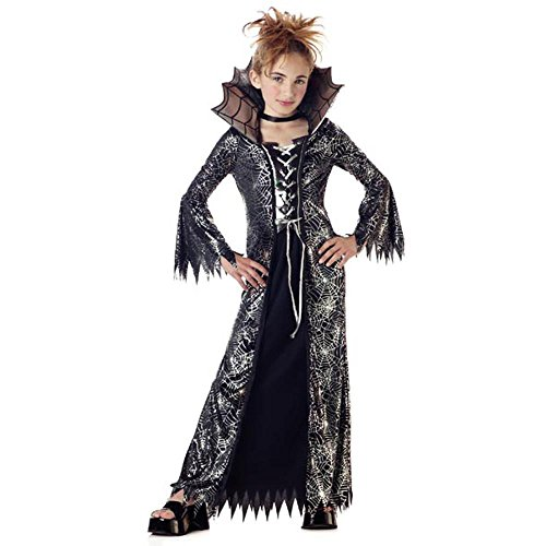 Child's Silver and Black Spider Witch Costume (Size: Large 10-12)