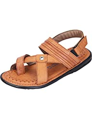 DATZZ Men's Tan Denim Sandals - B018U63AQQ
