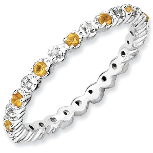 Sterling Silver Stackable Expressions Citrine & Diamond Ring (Size 9)