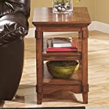 Signature Design by Ashley Rustic Medium Brown Oak Cross Island Chair Side End Table