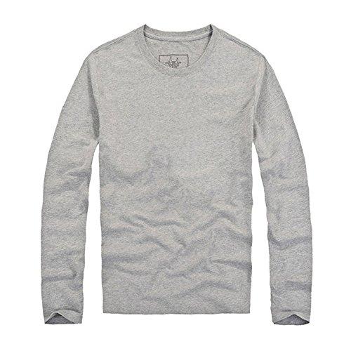 """Maniche Lunghe Primavera e In Autunno Nuovi Uomini Del Cotone """"s Trend Camicia Primer Semplice (Grigio)"""