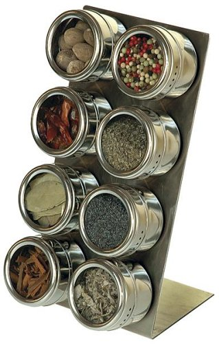 Soho Spices Magnetic 8 Piece Spice Rack Set with Stainless Steel Stand 14.5 cm x 15 cm x 28 cm