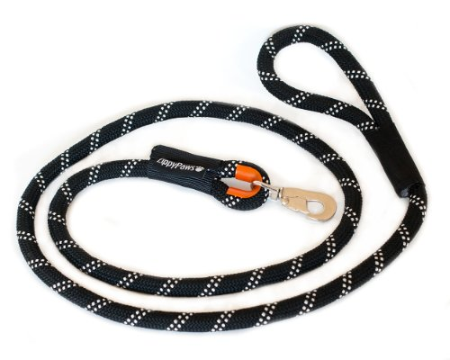 ZippyPaws Climbers Mountain Climbing Rope Dog Leash, 6-Feet, Black