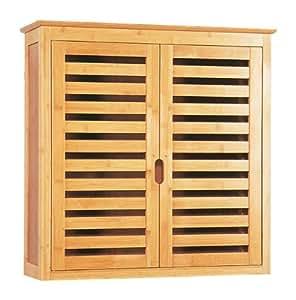 bambus badm bel schrank h ngeschrank lattendesign 2 t ren bad badezimmer. Black Bedroom Furniture Sets. Home Design Ideas