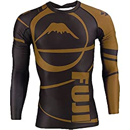 Fuji Freestyle IBJJF Approved Ranked Long Sleeve Rashguards Brown 3X-Large