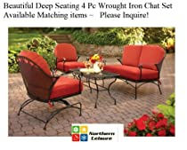Big Sale 4 Pc Outdoor Black Wrought Iron Deep Seating Chat Set Table & Chairs & Sofa Red Cushions