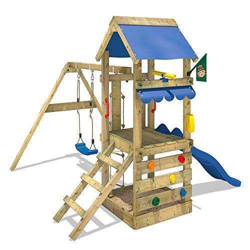 WICKEY FreshFlyer avec balançoire et toboggan Plateforme à la hauteur de 90cm Aire de jeux Portique de jeux en bois