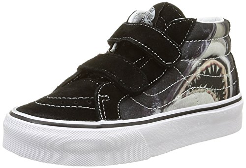 Vans Kid Shoes SK8-Mid Reissue Velcro (Digi Shark) Black/True White Sneakers (4 Big Kid M)