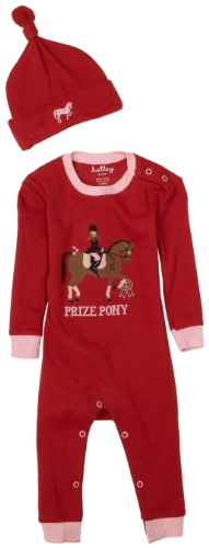 Hatley Coverall And Hat - Hunter Jumper, Pompeian Red, 18-24M