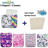 Babygoal Baby Adjustable Reuseable Pocket Cloth Diaper Nappy 6pcs + 6 Inserts 6fg03