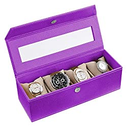 Ecoleatherette Handcrafted Eco Friendly 4 Watch Box, Watch Case, Watch Organizer (Lilac)