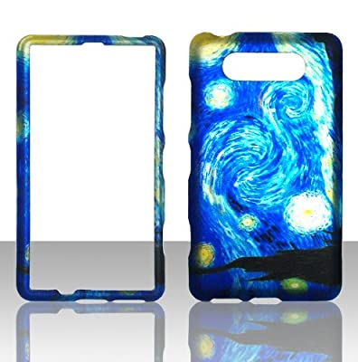 2D Blue Design Nokia Lumia 820 AT&T Case Cover Hard Phone Case Snap-on Cover Rubberized Touch Protector Faceplates by wirelesspulse