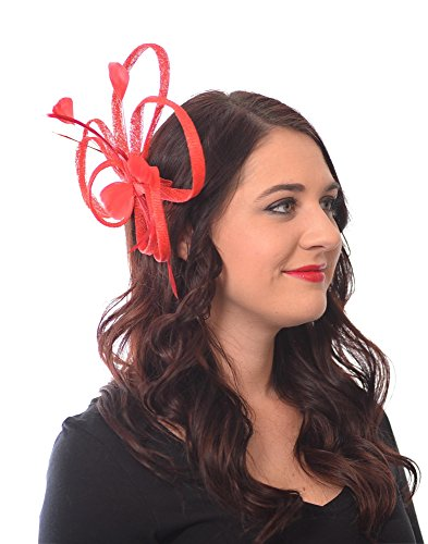 Mademoiselle Fascinator Hat with Sinamay Loops Feathers and Pearl Center Tea Party Derby Wedding Accessory (Red)