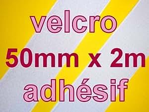 larg 50mm x 2m BANDE VELCRO SCRATCH AUTOCOLLANT ADHÉSIF BLANC