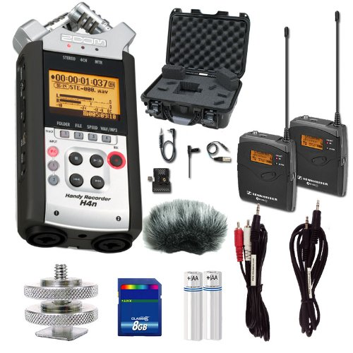 Zoom H4N Portable Recorder W Sennheiser Ew112P, Dslr Mount, Mic Muff, Hard Case, Card And Cables Bundle
