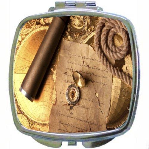 Rikki Knighttm Vintage Navigation Compass Map And Telescope Design Compact Mirror
