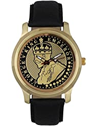 Jack Klein King Emperor Golden Dial Black Strap Elegant Analog Watch For Men