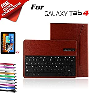Kool(TM) Samsung Galaxy Note PRO 12.2 Brown Leather Bluetooth Keyboard Book Cover Folio Case Flip Stand [Detachable Wireless Keyboard] (Samsung Galaxy Note PRO 12.2 Classy Bluetooth Keyboard, Brown)Customer reviews and more information