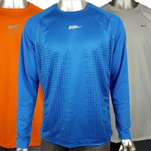 Mens Nike Dry Dri FIT Running Training Shirt Reflective Long Sleeve Tee Top