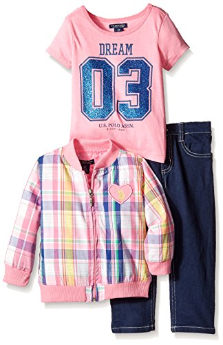 U.S. POLO ASSN. Little Girls' Bomber Jacket Graphic T-Shirt and Denim Jean, Pink Lemonade, 4T